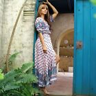 Women Vintage Bohemian V-neck Beach Print Front Split Maxi Long Tunic Sundress