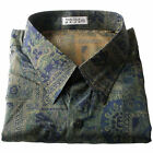 Mens Thai Silk Pattern Shirt Long / Short Sleeve Liver Bird Olive Hawaiian S-3XL