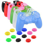 Silicone Cover Case Skin Controller & grip stick caps For Sony Playstation 4 PS4