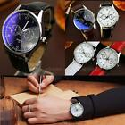 Students Men's Women Leather Stainless Steel Waterproof Quartz Wrist Watch PHNG