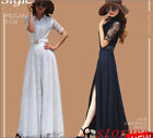 New Women's POLO Collar  FULL LENGTH GOWN Maxi Long Short sleeve Dress Lace Size