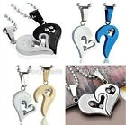 Stainless Steel Men Women Couple Lover Crystal Jigsaw Heart Pendant Necklace Set