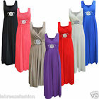 Ladies Womens Long Length Buckle Maxi Dress Evening Wedding Bridesmaid Plus Size