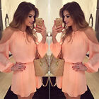 Summer Women Shoulder Off Long Sleeve Mini Dress Hot Fad Chiffon Pink Strapless
