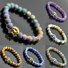 Mens Womens Natural Gemstone Lion Head Gold Silver Round Beads Bracelet 8mm 7.5""