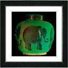 """Elephant Urn - Jade Green"" by Zhee Singer Framed Graphic..."