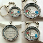 GIFT FOR AUNT- Personalised Keyring Necklace Bracelet Floating Memory Locket