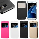 Flip Leather Wallet View Window Skin Case Cover For Samsung Galaxy S7 / S7 Edge
