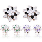New Fashion Crystal Pearl Gold Plated Flower Ear Stud Clip Earrings Jewelry