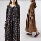 Summer Spring Women Long thin Cotton Linen Floral Dress Vintage Loose Shirt New