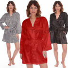 WOMENS Ladies Satin Silk Silky Summer Lounge Dressing Gown Robe Wrap Kimono HEN