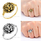 1pc Retro Vintage Punk Mens Golden Silvery Lion Head Wire Wrap Finger Ring us6-9