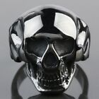Men's Women's Black Stainless Steel Skeleton Skull Head Biker Finger Ring Rings