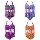 Womens Plump Plus Size Swimsuit Bathing Suit Bikini Swimwear Animal Print Tassel