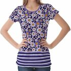 Lavender Floral Pattern Womens Ladies Short Sleeve Top Shirt Blouse