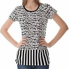 White Black People Crowd Womens Ladies Short Sleeve Top Shirt Blouse