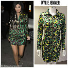 Celeb Kylie Jenner Zip Bodycon Tunic Mini Party Dress Multicoloured Kardashian