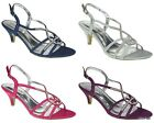 NEW WOMENS SATIN DIAMANTE WEDDING LADIES PROM LOW HEEL BRIDESMAID SANDALS  3 - 8