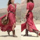 Vintage Women Boho Floral V Neck Long Maxi Dress Summer Beach Party Sun Dresses