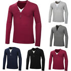 Fashion Mens Casual  Long Sleeve T shirt Shirts Slim Fit V-Neck Muscle Tops Tee