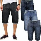 MENS CROSSHATCH DENIM SHORTS 3/4 CASUAL CARGO COMBAT SHORTS JEANS PANTS SUMMER