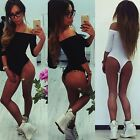 NEW WOMENS LONG SLEEVE STRETCH BODYSUIT LEOTARD BLOUSE BODY TOP T SHIRT SWIMSUIT