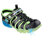 Skechers MAGIC LITES Youth Boys Black Blue Lime Bungee Closed Toe Velcro Sandals