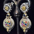 Konstantino Multi Gemstone Post Earrings 18K Yellow Gold Sterling New Gorgeous!