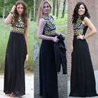 Women Sexy Summer Sleeveless Maxi Evening Party Beach Black Chiffon Dress UK