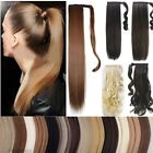 Women Wrap Around Clip In Ponytail Hair Extensions Real Natural Brown Black f6a