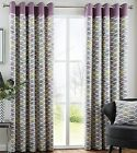 Capeland Designer Heavy Cotton Eyelet Lined Curtains, Lilac Lime Grey Heather