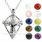 Natural Lava Gem Stone Cross Locket Pendant Fragrance Diffuser Chain Necklace