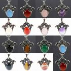 Gemstone Stone Lucky Fortune Double Horse Head Animal Pendant Charms Jewelry