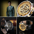 Sport Army Skeleton Mechanical Wrist Watch Classic Men's Faux Leather Dial New