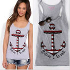 High Grade Beauty Women Boat Anchor Printed Sling Vest Tank Blouse T-Shirt Top