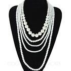 NEW Ladies Designer Wedding Drop Bridal Multi Chain Faux Pearl Necklace