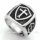 Men Punk Gothic 316L Stainless Steel Silvery Black Cross Shield Finger Ring Gift