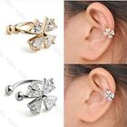 CZ Crystal Cross Bar Clip On Ear Stud Cuff Earrings Cartilage Helix No Piercing
