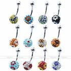 1x Steel Flower Czech Crystal 10mm Disco Ball 14G Belly Navel Ring Bars Piercing