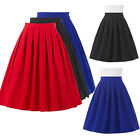 New Womens Ladies Belted Skater Flared Jersey Plain Mini Party Dress Skirt S-XL