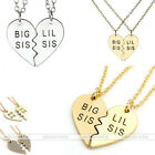 2Pc/Set Heart-Shaped Dangle Pendant Alloy Chain Necklace Family Sisters Jewelry