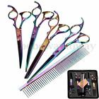 "7"" Pro Pet Dog Cat Grooming Scissors Cutting Curved Thinning Shears Stylish Set"