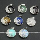 Women Silver Moon Star Natural Gemstone Pendant Fit Necklace Chain Jewelry DIY