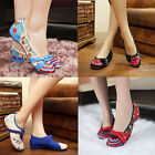 Chinese Embroidered Flower Flat Shoes Cotton embroidered ethnic Dance shoes 5 6