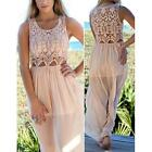 New Brand Women Sexy Lace Sleeveless Chiffon Hollow Out Long Dress