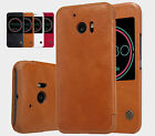 For HTC 10 /One M10 Leather Flip Smart Cover Skin Wallet Shell Case Wake Sleep