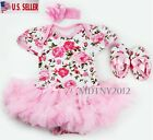 Newborn Infant Baby Girl Romper Tutu Dress Sets 3Pcs Outfits Clothes Bodysuit