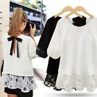Oversized Women's Short-sleeve Stitching Chiffon Tops Back Bow Shirts Blouses LJ