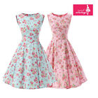 Women's Mint Pink Floral Dress Vintage Sleeveless 50s Rockabilly Swing Dress