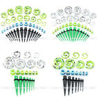 21 Pairs Acrylic Taper Stretcher Spiral Screwed Ear Tunnel Plugs Expander Gauges